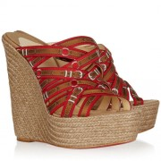 Replica Christian Louboutin Crepon 140mm Wedges Red Cheap Fake Shoes