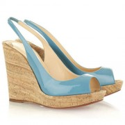 Replica Christian Louboutin Jean Paul 120mm Wedges Light Blue Cheap Fake Shoes