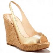Replica Christian Louboutin Metallic Cork 120mm Wedges Gold Cheap Fake Shoes