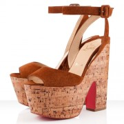 Replica Christian Louboutin Super Dombasle 140mm Wedges Fauve Cheap Fake Shoes