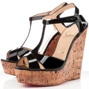 Replica Christian Louboutin Marina Liege 140mm Wedges Black Cheap Fake Shoes