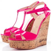 Replica Christian Louboutin Marina Liege 140mm Wedges Pink Cheap Fake Shoes