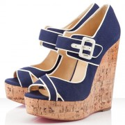 Replica Christian Louboutin Melides 140mm Wedges Navy Cheap Fake Shoes