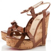 Replica Christian Louboutin Miss Cristo 140mm Wedges Brown Cheap Fake Shoes