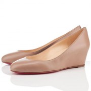 Replica Christian Louboutin New Peanut 40mm Wedges Beige Cheap Fake Shoes