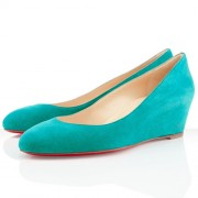 Replica Christian Louboutin New Peanut 40mm Wedges Caraibes Cheap Fake Shoes