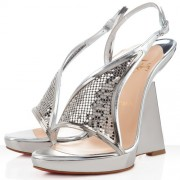 Replica Christian Louboutin Roxy Muse 120mm Wedges Silver Cheap Fake Shoes