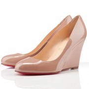 Replica Christian Louboutin Ron Ron Zeppa 80mm Wedges Nude Cheap Fake Shoes