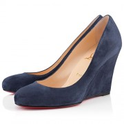 Replica Christian Louboutin Ron Ron Zeppa 80mm Wedges Blue Cheap Fake Shoes
