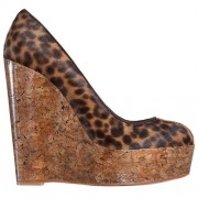 Replica Christian Louboutin Coroclic 140mm Wedges Leopard Cheap Fake Shoes
