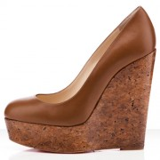 Replica Christian Louboutin Coroclic 140mm Wedges Fauve Cheap Fake Shoes