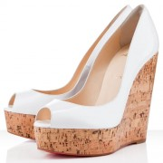 Replica Christian Louboutin Uue Plume 140mm Wedges White Cheap Fake Shoes