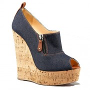 Replica Christian Louboutin Deroba Denim 140mm Wedges Blue Cheap Fake Shoes