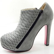 Replica Christian Louboutin 4A 120mm Ankle Boots Grey Cheap Fake Shoes
