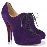 Replica Christian Louboutin Trous 120mm Ankle Boots Parme Cheap Fake Shoes