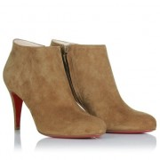 Replica Christian Louboutin Belle 80mm Ankle Boots Brown Cheap Fake Shoes