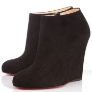 Replica Christian Louboutin Belle Zeppa 100mm Ankle Boots Black Cheap Fake Shoes