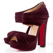 Replica Christian Louboutin Applique 140mm Ankle Boots Plum Cheap Fake Shoes