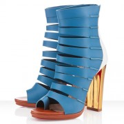 Replica Christian Louboutin Decoupata 120mm Ankle Boots Blue Cheap Fake Shoes