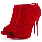 Replica Christian Louboutin Diplonana 120mm Ankle Boots Red Cheap Fake Shoes