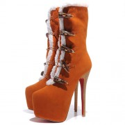 Replica Christian Louboutin Daf Booty 160mm Ankle Boots Brown Cheap Fake Shoes