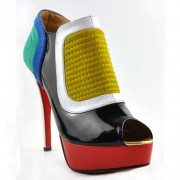Replica Christian Louboutin Futura 140mm Ankle Boots Multicolor Cheap Fake Shoes
