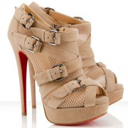 Replica Christian Louboutin Mad Marta 140mm Ankle Boots Beige Cheap Fake Shoes