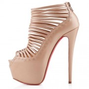 Replica Christian Louboutin Zoulou 160mm Ankle Boots Nude Cheap Fake Shoes
