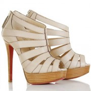 Replica Christian Louboutin Pique Cire 140mm Ankle Boots Beige Cheap Fake Shoes