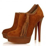 Replica Christian Louboutin SulTaupee 140mm Ankle Boots Brown Cheap Fake Shoes