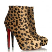 Replica Christian Louboutin Miss Clichy 140mm Ankle Boots Leopard Cheap Fake Shoes