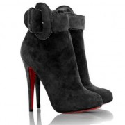 Replica Christian Louboutin Trottinette 140mm Ankle Boots Black Cheap Fake Shoes