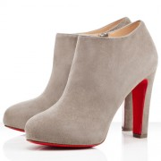 Replica Christian Louboutin Vicky Booty 120mm Ankle Boots Grey Cheap Fake Shoes