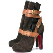 Replica Christian Louboutin Guerriere 120mm Ankle Boots Chocolate Cheap Fake Shoes