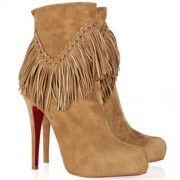 Replica Christian Louboutin Rom 120mm Ankle Boots Camel Cheap Fake Shoes