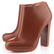 Replica Christian Louboutin Rock And Gold 120mm Ankle Boots Brown Cheap Fake Shoes