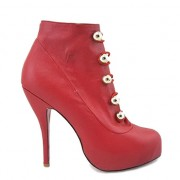 Replica Christian Louboutin Fifre Corset 120mm Ankle Boots Red Cheap Fake Shoes
