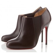 Replica Christian Louboutin Lastoto 100mm Ankle Boots Chocolate Cheap Fake Shoes
