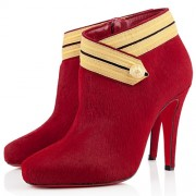 Replica Christian Louboutin Marychal 100mm Ankle Boots Red Cheap Fake Shoes