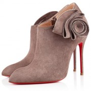 Replica Christian Louboutin Mrs Baba 100mm Ankle Boots Taupe Cheap Fake Shoes
