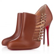 Replica Christian Louboutin Safety 100mm Ankle Boots Brown Cheap Fake Shoes