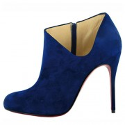 Replica Christian Louboutin Lisse 100mm Ankle Boots Blue Cheap Fake Shoes