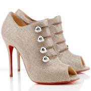 Replica Christian Louboutin Loubout 100mm Ankle Boots Taupe Cheap Fake Shoes