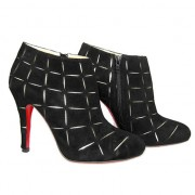 Replica Christian Louboutin Globe 100mm Ankle Boots Black Cheap Fake Shoes