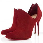 Replica Christian Louboutin Dugueclina 100mm Ankle Boots Red Cheap Fake Shoes