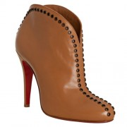 Replica Christian Louboutin Catch Me 100mm Ankle Boots Brown Cheap Fake Shoes