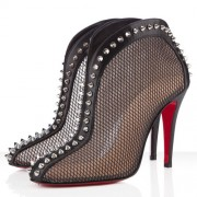Replica Christian Louboutin Bourriche 100mm Ankle Boots Black Cheap Fake Shoes