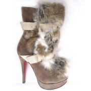 Replica Christian Louboutin Toundra Fur 120mm Ankle Boots Brown Cheap Fake Shoes