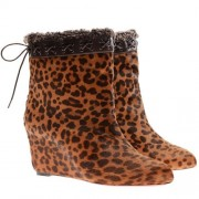 Replica Christian Louboutin Toufure 80mm Ankle Boots Leopard Cheap Fake Shoes