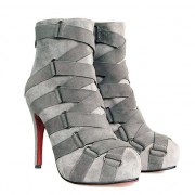 Replica Christian Louboutin Nitoinimoi Bandage 120mm Ankle Boots Grey Cheap Fake Shoes